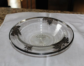 Glass Rollover Bowl with floral imprint