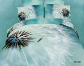 Bedding blue dandelion 3d oil printed bedding set 4pcs bedclothes Cotton bed sheet Linen pillowcases Doona duvet covers sets Queen