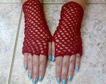 Red Crochet Gloves