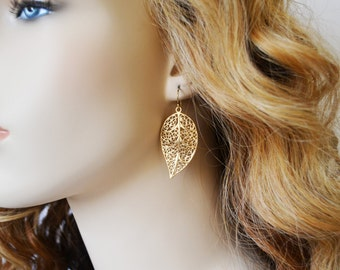 Gold Leaf Earrings, Eco Friendly, Gold Drop Earrings, Gold Filigree Leaf Drops