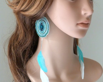 Earrings 'Heart of ice' glass beads and feathers