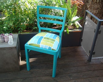 Blue Side Chair, upcycled furniture, marine blue, blue and green, upholstered