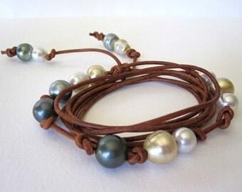 Tahitian Pearl Leather Wrap Bracelet, Leather and Pearl Cuff Bracelet, South Sea Pearl and Leather Jewelry, Black Pearl and Leather Bracelet