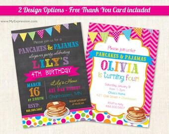 Pancakes & Pajamas Birthday Party Invitations - Pancake PJ Invitations - Girls Birthday Invitations -Chevron Polka Dots - Digital or Printed