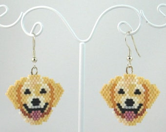 Beaded Yellow Lab Earrings