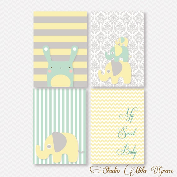Elephant wall art 8x10 baby shower nursery yellow blue for Baby shower wall mural
