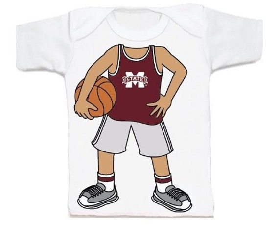 Mississippi State Bulldog Heads Up Basketball Baby T Shirt