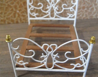 1/2 Scale bed for dollhouse in wrought iron.