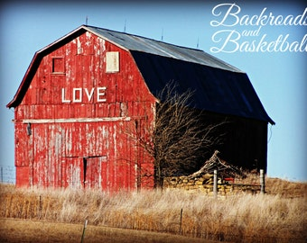 Love Red Barn Rustic Farmhouse decor wall art photo print