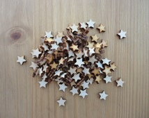 Wooden Christmas Stars pack of 50, 1 cm Trees, wedding Stars, scrap book, embellishment, art and craft. Card making, Christmas Stars