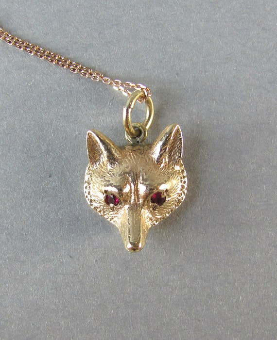 reserved mr fox gold fox pendant with ruby