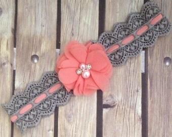 Grey and coral headband, grey headband, coral headband, vintage headband, flower girl headband, halo, baby headband, lace headband, vintage