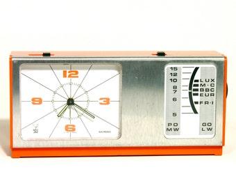 French Clock Radio-JAZZ Electronic-Made in France-1970-Orange-Brushed Aluminium-Industrial Decor-Vintage Home Decor