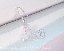 Love Earrings, Pink Earrings, Silver Earrings, Word Earrings, Romantic Earring, Cursive Love Earrings, Sterling Silver Earrings