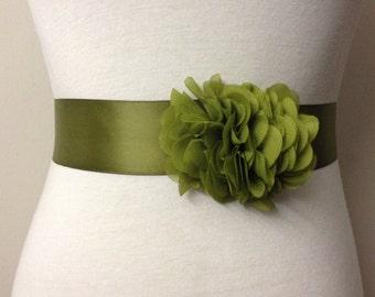 Bridesmaid Sash-Olive Green Sash-Bride Sash-Dress Sash-Flower Sash-Bridal Sash Belt-Wedding Sash-Plain Sash-Ruffle Chiffon Flower Sash