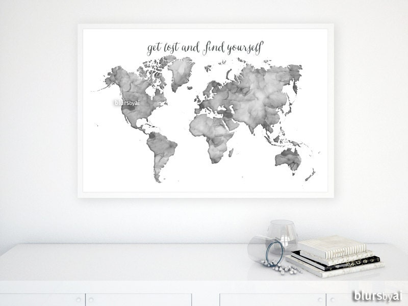 36x24 black and white watercolor world map printable zoom gumiabroncs Choice Image
