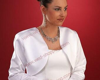Wedding Classic Bolero Jacket for Bride satin long sleeves without collar E1017