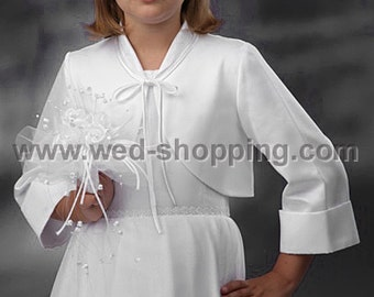 Communion Bolero Jacket made of satin with 3/4 long sleeves with cuffs FB1017