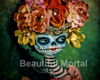 Beautiful Mortal Mysterious Dia De Los Muertos Doll PRINT 371 Reproduction