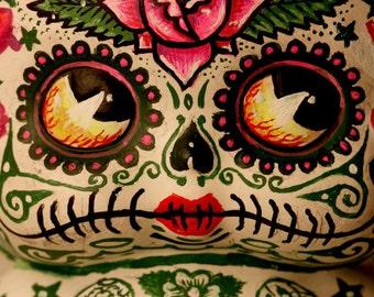 Beautiful Mortal Adorable Pink Dia De Los Muertos Tattooed Deadey Betty Boop PRINT 308 by Michael Brown