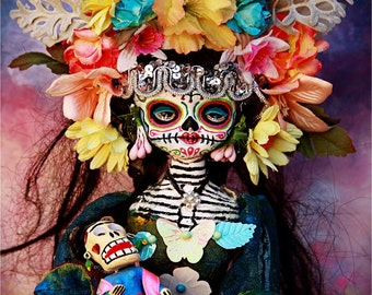 Beautiful Mortal Day of the Dead Skeleton Doll holding doll Canon PRINT 559 Reproduction by Michael Brown
