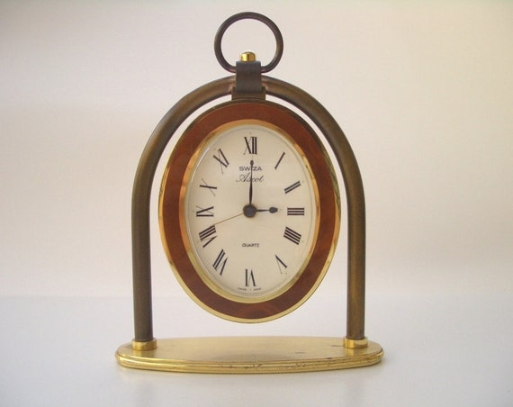 Vintage 1980s QUARTZ CLOCK SWIZA Swiss made alarm clock