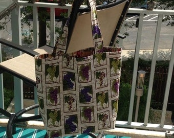 Large wine/grapes reversible tote bag
