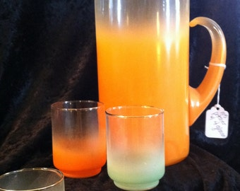 Groovy ombre pitcher with 4 glasses