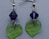 Purple Bead & Green Leaf Earrings