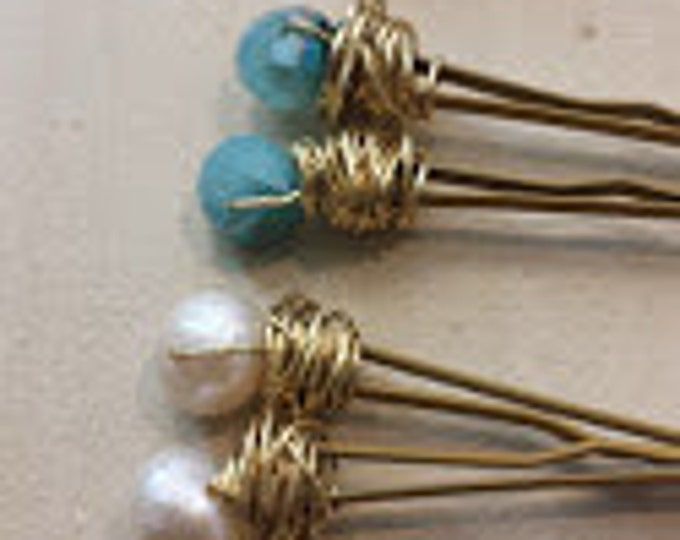 Crystal and Freshwater Pearl Wrapped Hair Pins, bridesmaid gifts, hair pins, wire wrapped, bridal jewelry, wedding gifts,