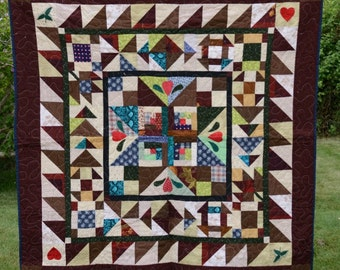 Hand Pieced Quilt (52.5'' by 52.5'' lap quilt)