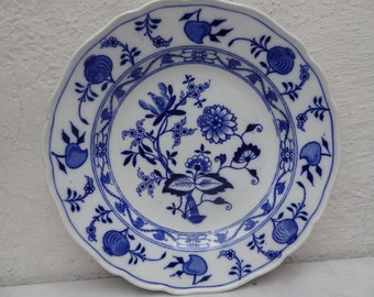 Antique Meissen Blue Onion Scalloped Edge Bowl England Staffordshire China BWM and C Blue and White Dishes  (CH392)