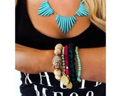 Turquoise Bullet Stone Fan Necklace