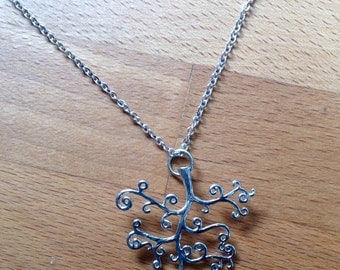 Matte silver tree necklace