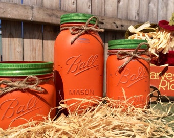 Set of 3 Hand Painted Mason Jar Pumpkins, Home Decor, Fall Decor, Pumpkin, Halloween, Fall Mason Jars, Thanksgiving Decor, Fall, Mason Jars