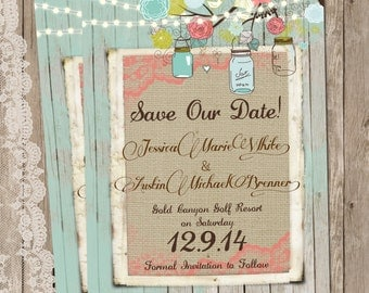 Rustic Mason Jar, Save the Date, Lights, Mint Save the Date, Coral, Digital File, Printable Save the Date, 5x7