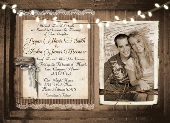 Printable shabby chic wedding invitation templates for Free rustic wedding invitation templates