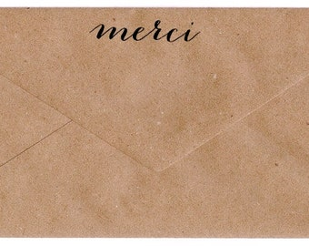 Merci Stamp, Calligraphy Stamp, Custom Rubber Stamp, Merci Rubber Stamp, Wood Handle or Self Inking