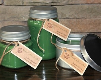 WINTER NIGHTS Maple Creek Candles ~ Pine & Berry ~ Soy Wax Blend, 3 sizes, Fun Rustic Lid