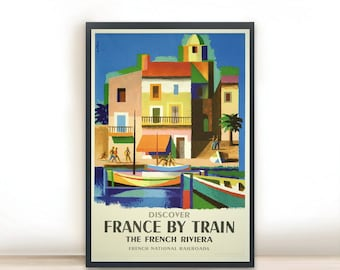 """Vintage Poster of France City Poster French National Railroads Art Print, Art Posters, Minimalist Art 13"""" x 19"""""""