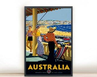 "Australia Vintage Travel Poster, Art Print Posters, Dorm Decor, Minimalist Art, Vintage Advertising Poster 13"" x 19"""