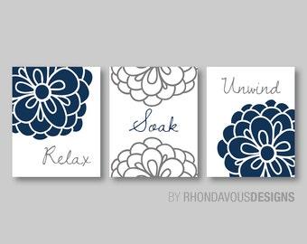 Floral Relax Soak Unwind Print Trio. Bathroom Home Decor Wall. Bathroom Art. Flower Bathroom. Bathroom Wall Decor. Bathroom Sign.  (NS-287)