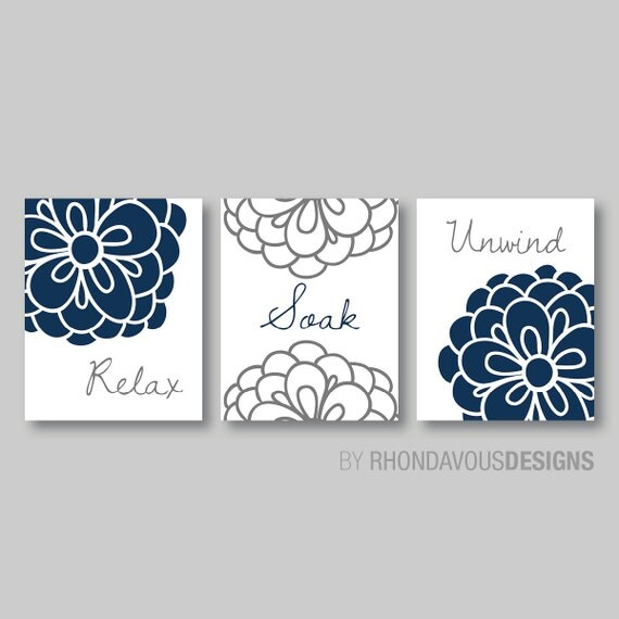 Floral relax soak unwind print trio bathroom home decor wall for Blue and gray bathroom accessories