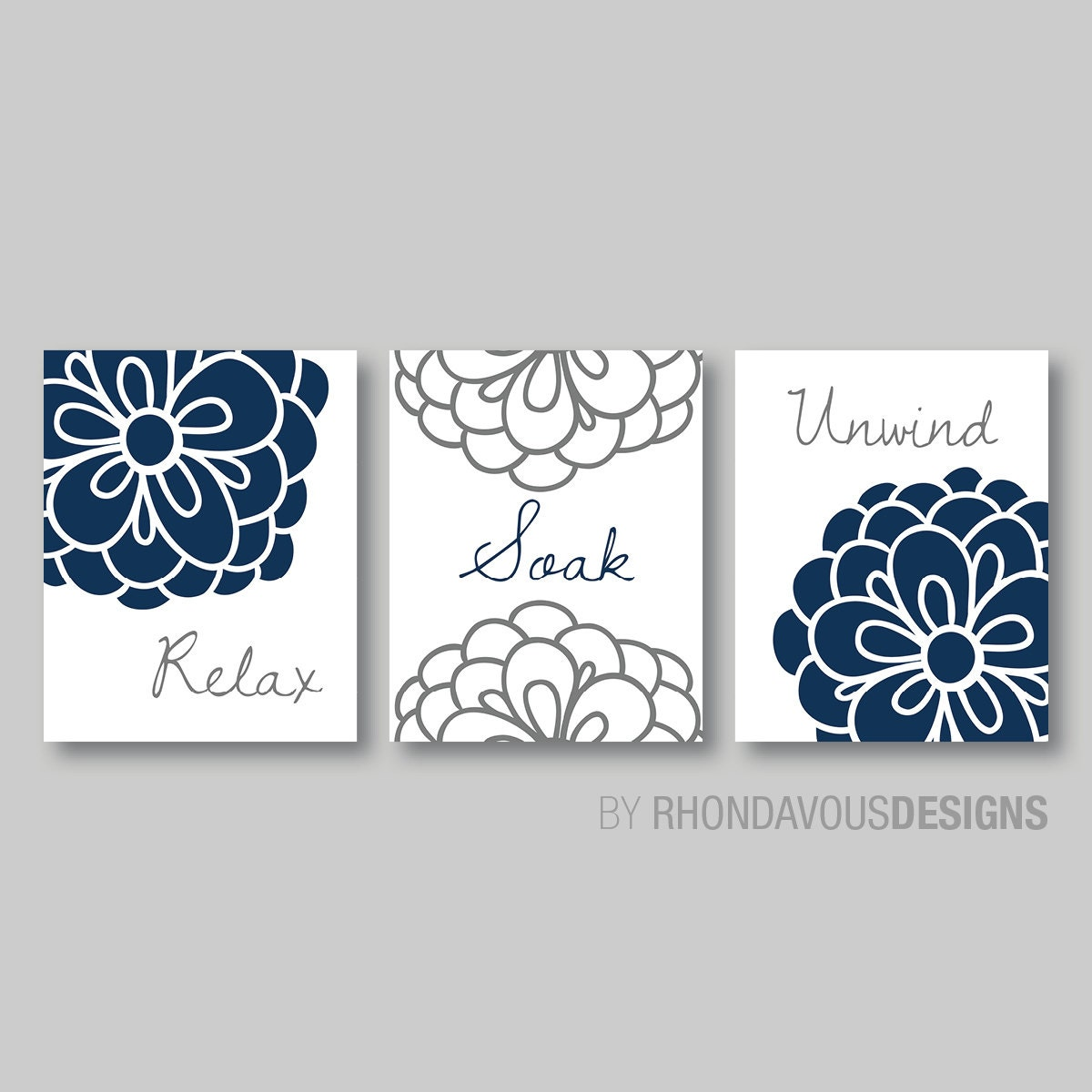 Floral relax soak unwind print trio bathroom home decor wall for Dark blue bathroom decor