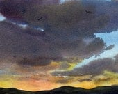 "NIGHTFALL - ORIGINAL WATERCOLOR - Painting by Linda Henry - Miniature Watercolor 5""x7"" - Matted - Ready to Frame (#136)"