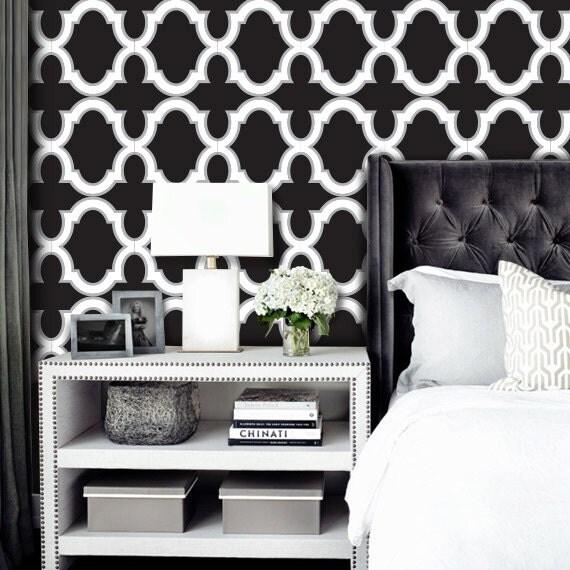 Tapeten Marokkanische Muster : Black and White Moroccan Trellis Pattern