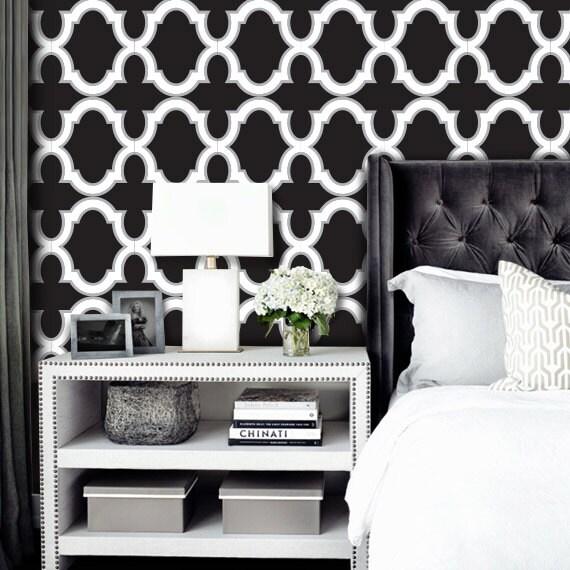 Moroccan Trellis Wallpaper: Moroccan Geometric Trellis Pattern Black And White PEEL