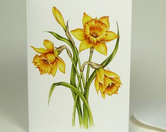 Daffodil Painting Large Luxury Greeting Card