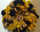 Yellow and Black Chevron Personalized Burlap wreath