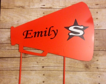 Metal Cheer Megaphone Yard and Garden Sign